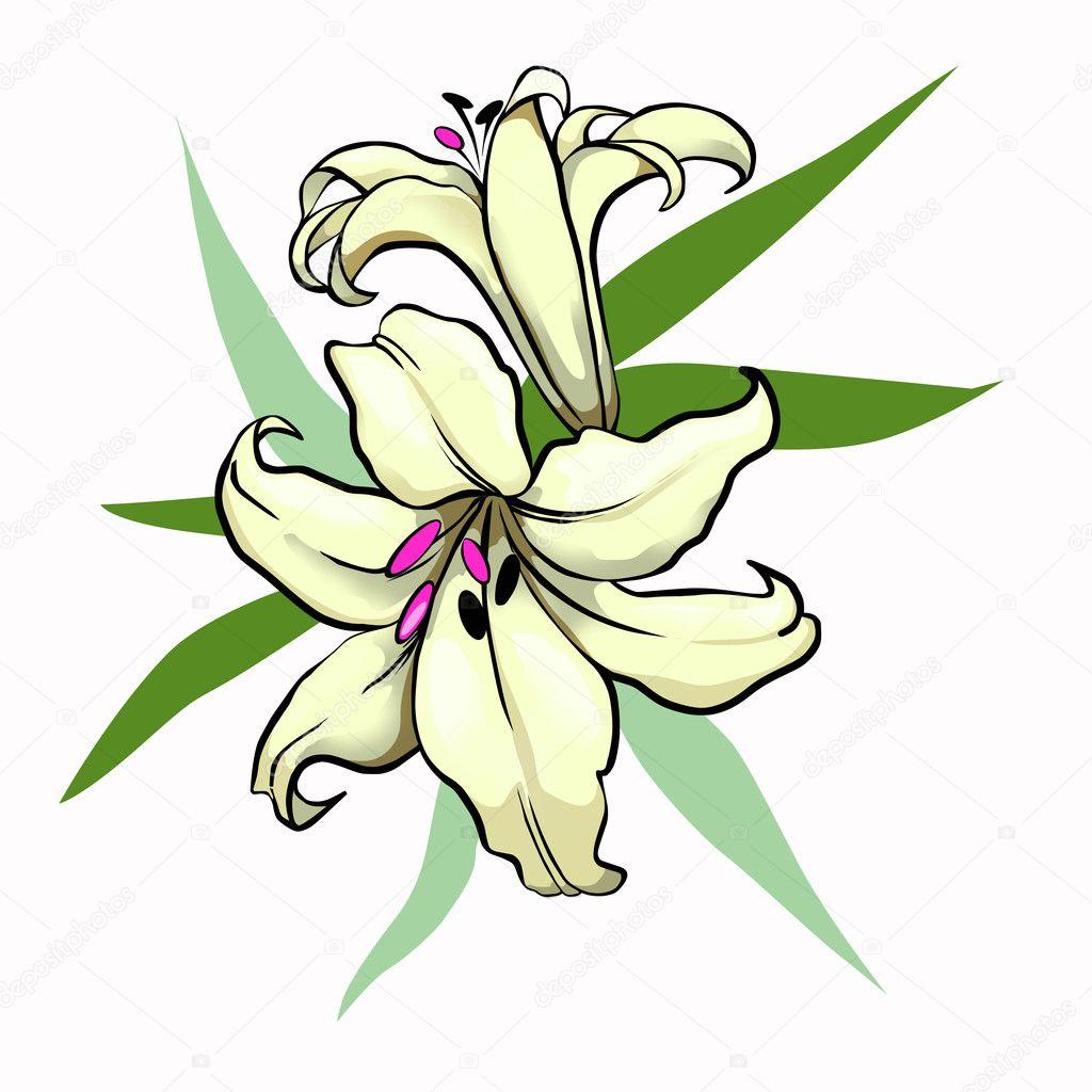 Рисунок символом лилиями