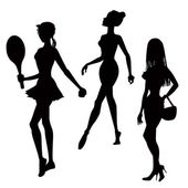 Three women silhouettes — Stock Photo