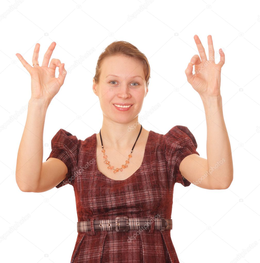 The Girl on white background shows the gestures. — Stock Photo #1691665