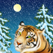 Foto Stock: Tiger and snowstorm