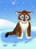Tiger on snow — Stock Photo