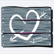 Stock Vector: Fence chalk heart