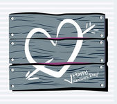 Fence chalk heart — Stock Vector