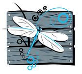 Fence dragonfly — Stock Vector