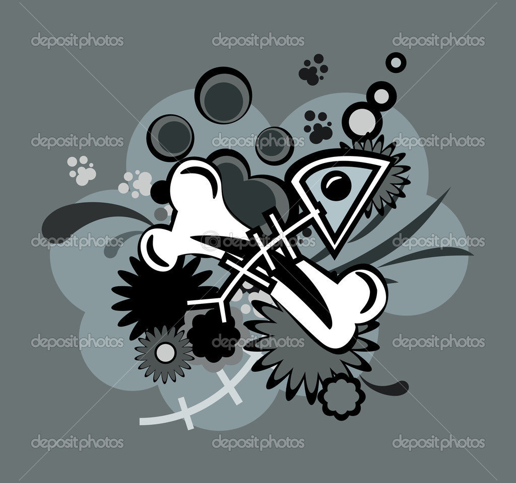 Bone located both on the flag of pirates. The overall pattern — Stock Vector #2015108
