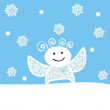 Stock Vector: Vector snowflall with smiling angel