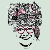 Abstract smiling woman in glasses, vecto — Stock Vector