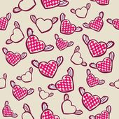 Seamless pattern with flying hearts — Stock Vector