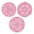 Set of cute vector circle ornament laces — Stock Vector