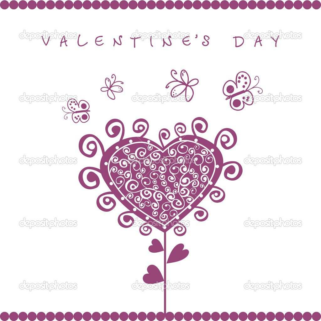 Romantic card with illustration of garden and valentine sign — Stock Vector #1605271