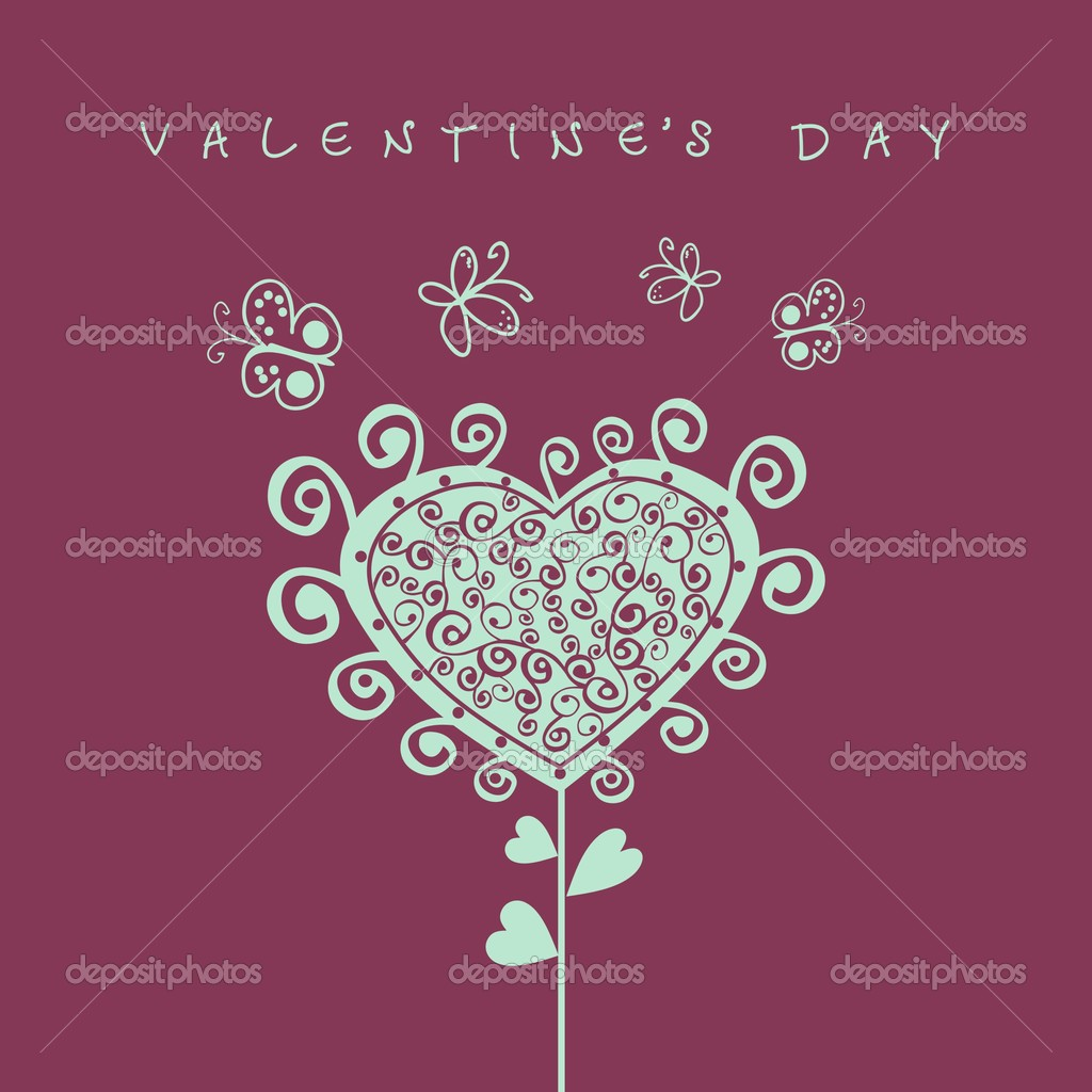 Romantic card with illustration of garden and valentine sign  Stock Vector #1605276