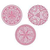 Set of cute vector circle ornament laces — Stock Vector
