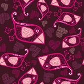 Romantische nahtlose muster mit vögeln und — Stockvektor