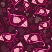 Romántico de patrones sin fisuras con los pájaros y — Vector de stock