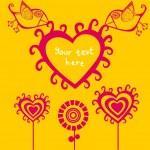 Cartoon birds above romantic flowers — Stock Vector #2183537