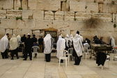 Jewish prayers near wailing wall — Stock Photo