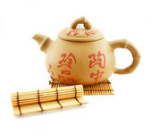 Japanese teapod and wooden stand — Stock Photo