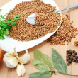 Stock Photo: Ingredients for boiled buckwheat