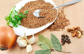 An ingredients for a boiled buckwheat — Stock Photo