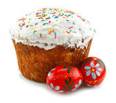 Easter cake and eggs isolated — Stock Photo