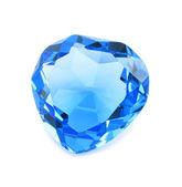 Heart shaped blue crystal isolated — Stock Photo