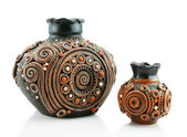 Two colored clay vases isolated — Stock Photo