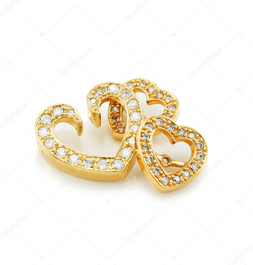 Heart-shaped jewelry (brooch and earrings) isolated on a white background — Foto Stock #1281784