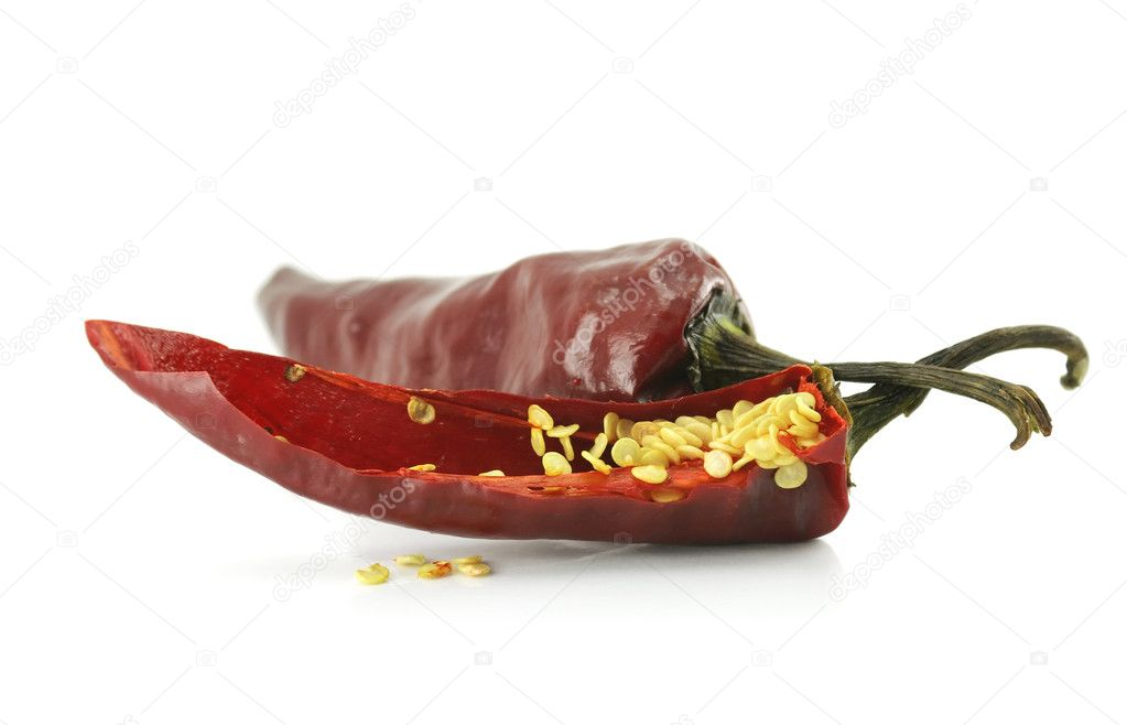 Hot pepper isolated on a white background  Foto de Stock   #1281794