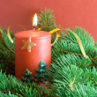 Stock Photo: Fir branch and christmas candle