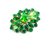 A green brooch isolated — Stock Photo