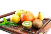 Fruits on a tray isolated — Stock Photo