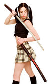 Dangerous girl with sword — Stock Photo