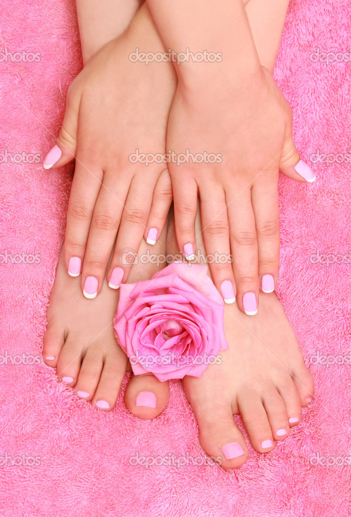 Foot massage and herbal therapy on pink background  Stock Photo #1263384