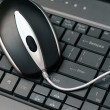 Wired mouse on a keyboard - ストック写真