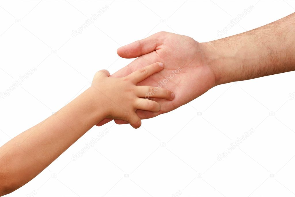 Hand of the child in the hands of an adult on a white background — Stock Photo #1313733