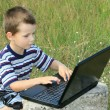 Child learns to laptop — Stock Photo #1428365