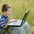Child learns to laptop — Stock Photo #1428388