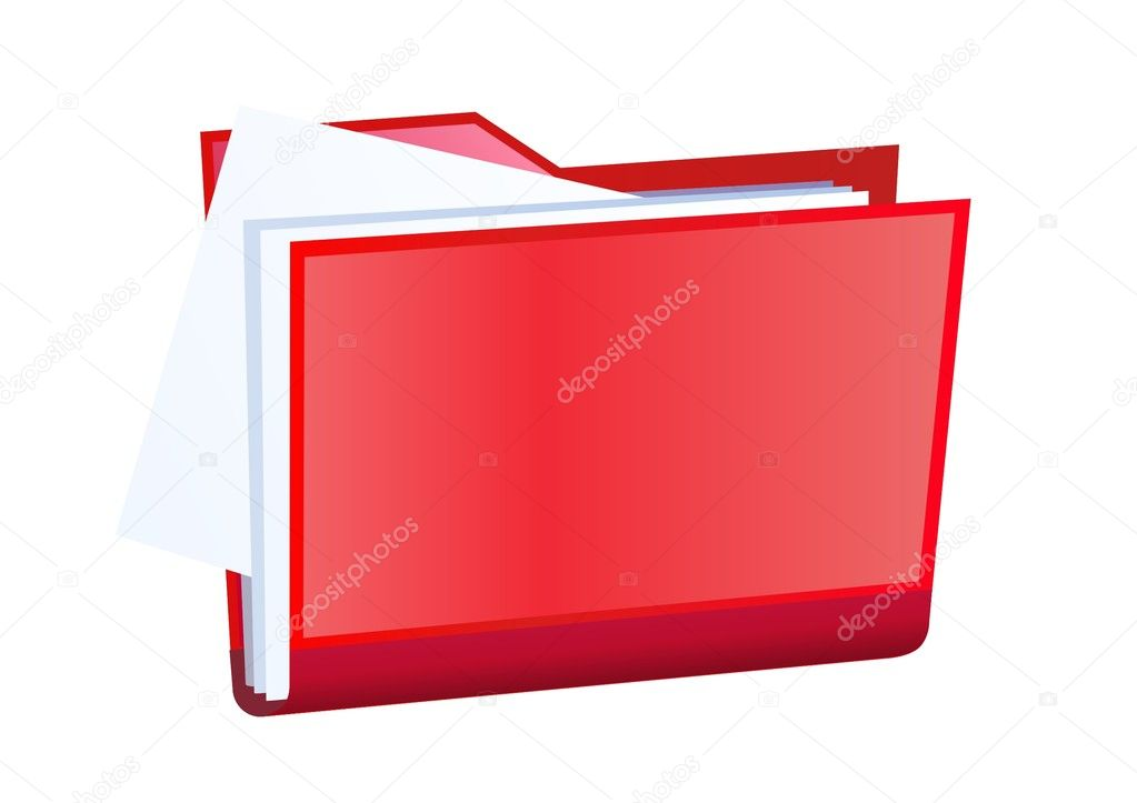 Red vector file folder with documents — Stock Vector #1429385