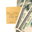 Gold credit card and dollars — Stock Photo