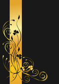 Black and gold floral background — Stock Vector