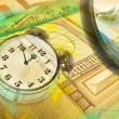Royalty-Free Stock Photo: Graphic, magnifier, money and clock, col
