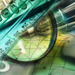Royalty-Free Stock Photo: Magnifier, ruler and calculator, collage