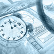 Graphic, magnifier, money and clock, col — Stock Photo #1278995