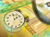 Graphic, magnifier, money and clock, col — Stock Photo