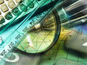 Magnifier, ruler and calculator, collage — Stock Photo
