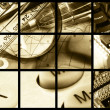 Pens, rulers, magnifier and keys (sepia) — Stock Photo
