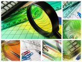 Magnifier, ruler and calculator — Stock Photo