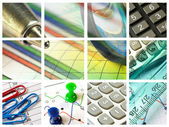Magnifier, ruler, pins and calculator — Stock Photo