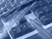 Graphic, pen, ruler and keyboard, collag — Stock Photo