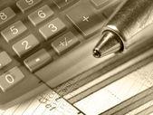 Grafik, penna och tangentbord, collage (sepi — Stockfoto